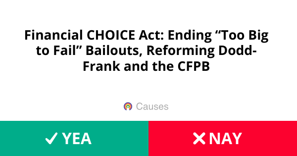 """Financial CHOICE Act: Ending """"Too Big to Fail"""" Bailouts"""